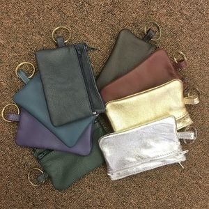 Accessories - Leather Double Zipper Pouch with Key Ring Attached